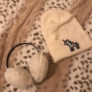 Unicorn beanie & ear muffs